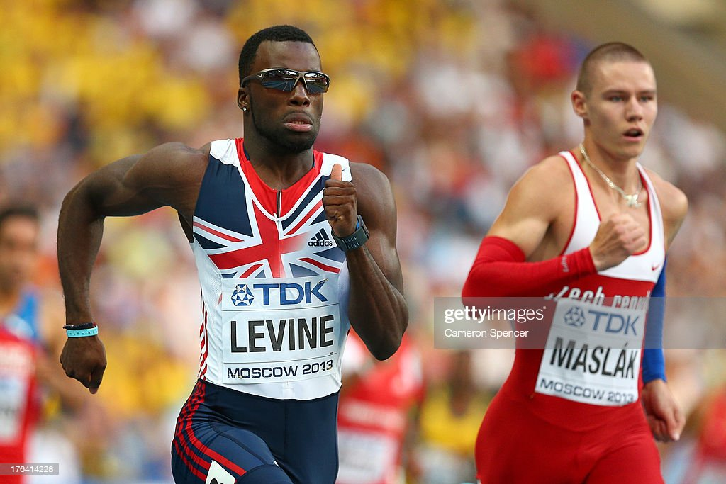 <a gi-track='captionPersonalityLinkClicked' href=/galleries/search?phrase=Nigel+Levine+-+Sprinter&family=editorial&specificpeople=5429305 ng-click='$event.stopPropagation()'>Nigel Levine</a> of Great Britain and Pavel Maslak of the Czech Republic compete in the Men's 400 metres semi finals during Day Three of the 14th IAAF World Athletics Championships Moscow 2013 at Luzhniki Stadium on August 12, 2013 in Moscow, Russia.