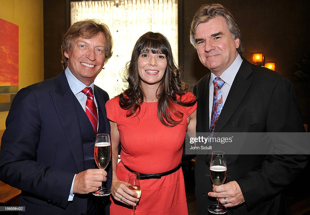 Nigel Lythgoe, Fiona Francois and Bob Peirce attend a Golden Globe lunch hosted by BritWeek chairman Bob Peirce honoring Julian Fellowes, Gareth Neame and Michelle Dockery at Four Seasons Hotel Los Angeles at Beverly Hills on January 12, 2013 in Beverly Hills, California.
