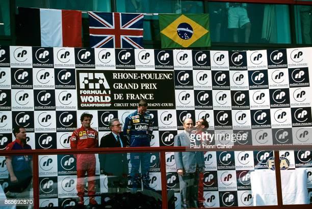 Nigel Mansell Alain Prost Ayrton Senna JeanMarie Balestre President of France François Mitterrand Grand Prix of France Circuit de Nevers MagnyCours...