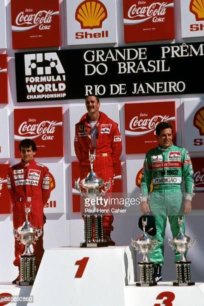 Nigel Mansell Alain Prost Mauricio Gugelmin Grand Prix of Brazil Jacarepagua 26 March 1989