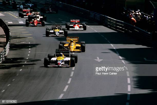 Nigel Mansell Ayrton Senna Nelson Piquet McLarenHonda MP4/5 Grand Prix of Monaco Monaco 31 May 1987