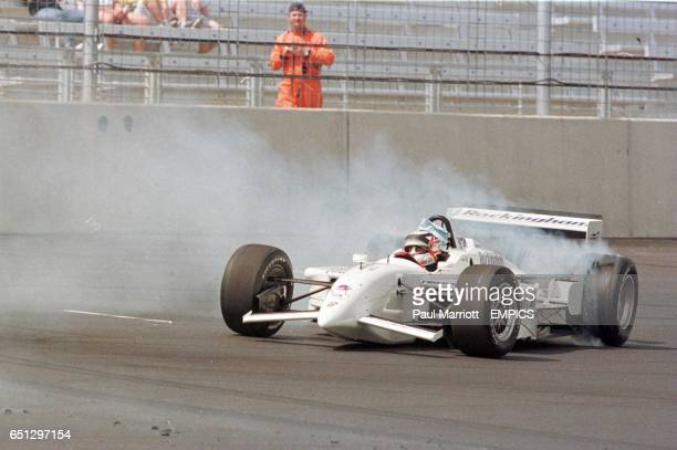 Nigel Mansell burns rubber at the opening of the Rockingham Race Speedway track in Northamptonshire today