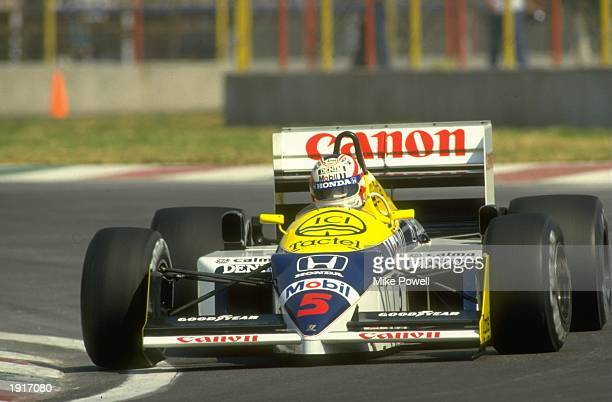 Nigel Mansell of Great Britain cuts close to a corner in his Williams Honda during the Mexican Grand Prix at the Mexico City circuit Mansell finished...