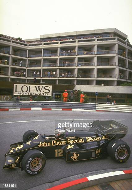 Nigel Mansell of Great Britain in action in his Lotus Renault during the Monaco Grand Prix at the Monte Carlo circuit in Monaco Mansell retired from...