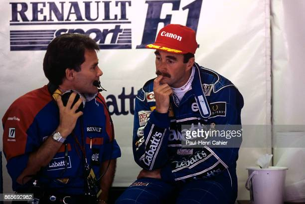 Nigel Mansell Peter Windsor Grand Prix of Italy Autodromo Nazionale Monza 13 September 1992 Nigel Mansell with Williams team manager Peter Windsor