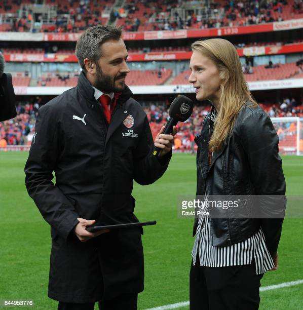 Nigel Mitchell interviews Vivienne Miedema of Arsenal Women during half time of the Premier League match between Arsenal and AFC Bournemouth at...
