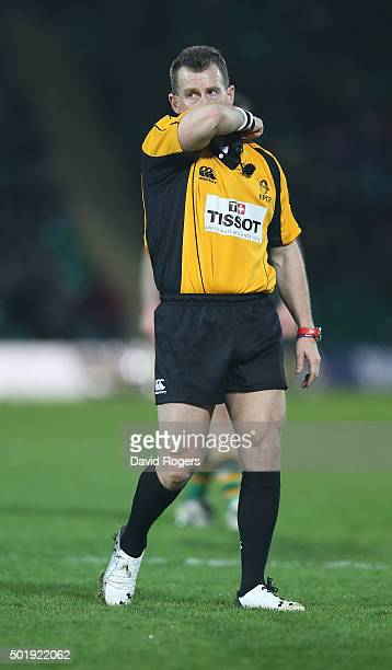 Nigel Owens the referee looks on during the European Rugby Champions Cup match between Northampton Saints and Racing 92 at Franklin's Gardens on...