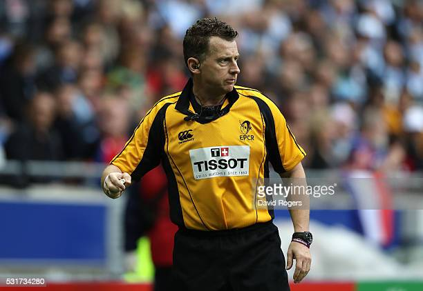 Nigel Owens the referee looks on during the European Rugby Champions Cup Final match between Racing 92 and Saracens at Stade de Lyon on May 14 2016...