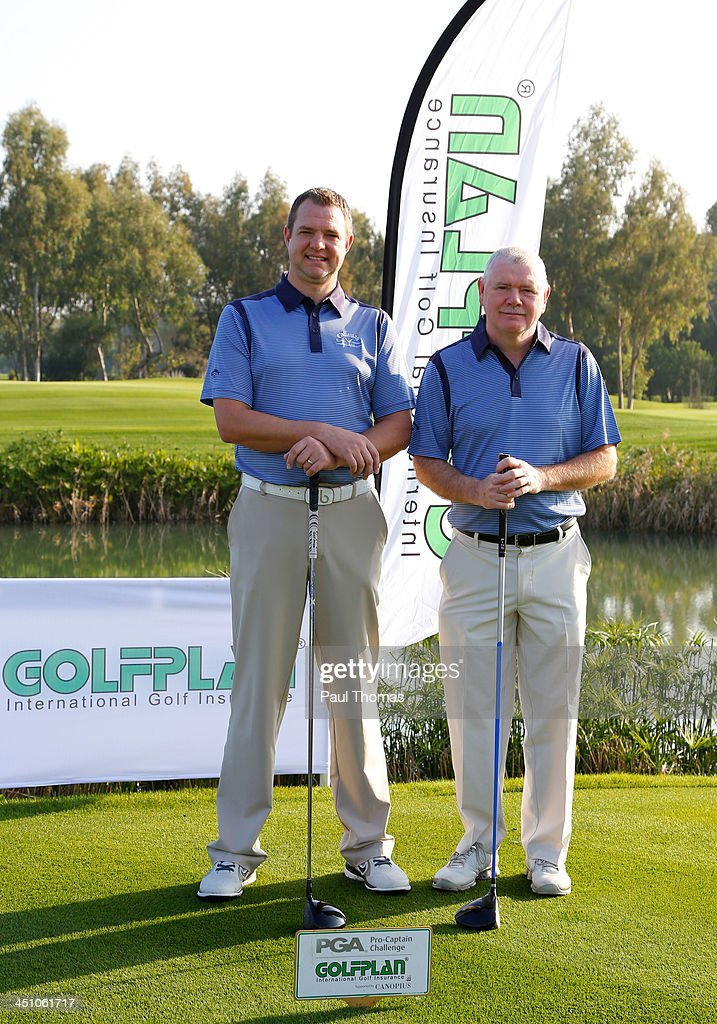 Nigel Parkinson (L) and David Briggs of Renishaw Park Golf Club pose for a photograph on the PGA Sultan Course during day one of The Golfplan Insurance Pro Captain Challenge final at Antalya Golf Club on November 21, 2013 in Antalya, Turkey.