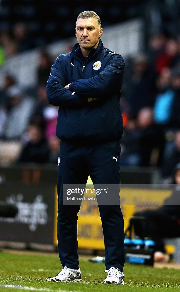 Nigel Pearson, manager of Leicester City looks on during the npower Championship match between Derby County and Leicester City at Pride Park Stadium on March 16, 2013 in Derby, England.