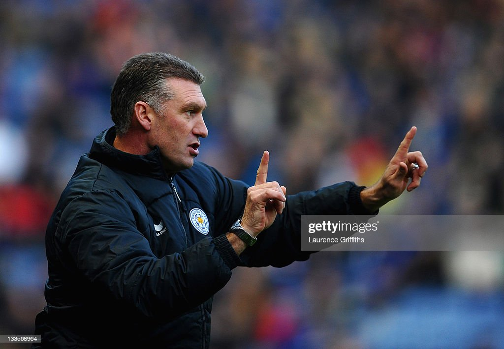 Nigel Pearson of Leicester City gives out instuctions during the npower Championship match between Leicester City and Crystal Palace at Walkers Stadium on November 20, 2011 in Leicester, England.