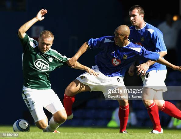 Nigel Quashie of Portsmouth puts in a tackle during the preseason friendly match between Portsmouth and Panathinaikos at Fratton Park on Augsut 7...