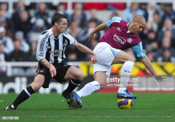 Nigel Quashie West Ham United and Scott Parker Newcastle United battle for the ball
