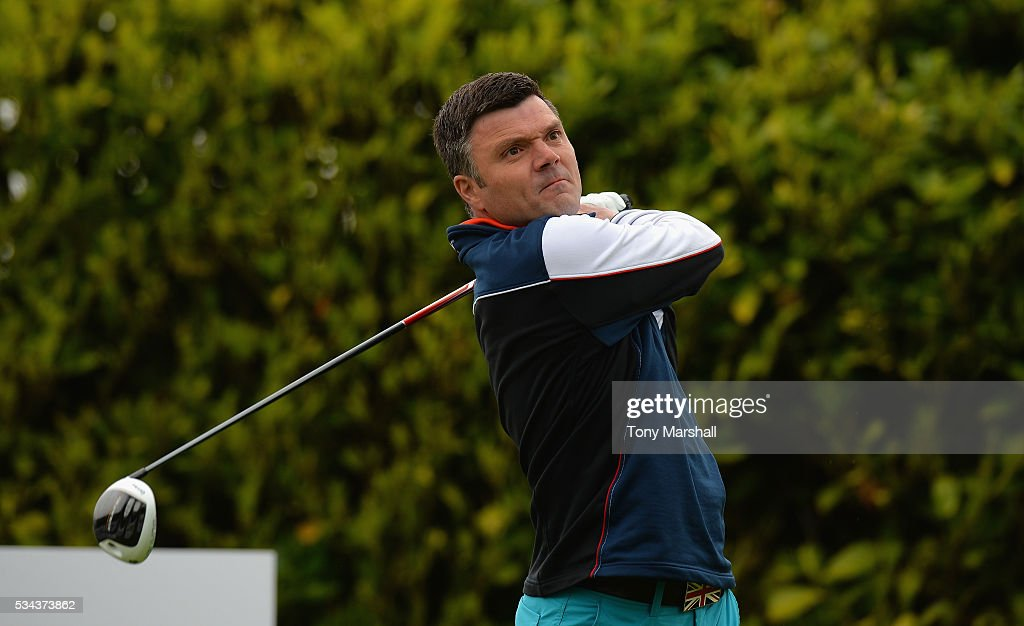 Nigel Randle of Nuneaton Golf Club plays his first shot on the 1st tee during the PGA Assistants Championships - Midlands Qualifier at the Coventry Golf Club on May 26, 2016 in Coventry, England.