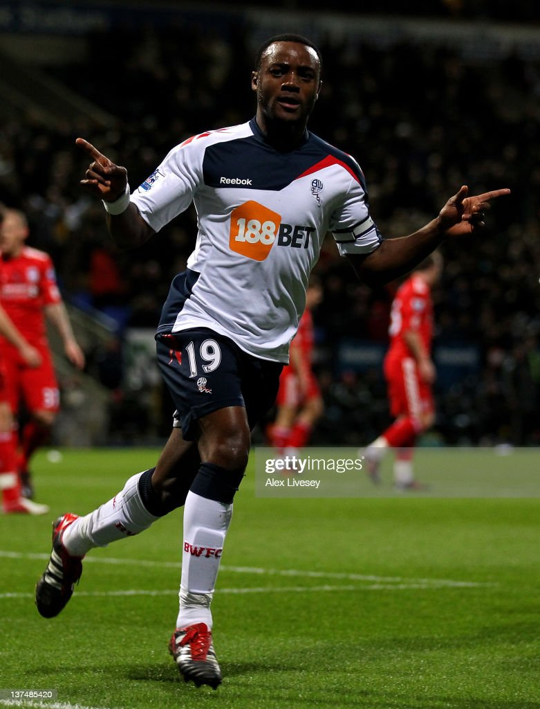 <a gi-track='captionPersonalityLinkClicked' href=/galleries/search?phrase=Nigel+Reo-Coker&family=editorial&specificpeople=214185 ng-click='$event.stopPropagation()'>Nigel Reo-Coker</a> of Bolton Wanderers celebrates scoring his team's second goal during the Barclays Premier League match between Bolton Wanderers and Liverpool at the Reebok Stadium on January 21, 2012 in Bolton, England.