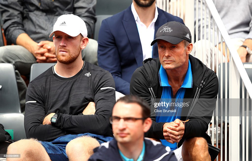 <a gi-track='captionPersonalityLinkClicked' href=/galleries/search?phrase=Nigel+Sears&family=editorial&specificpeople=582385 ng-click='$event.stopPropagation()'>Nigel Sears</a> (R) the coach of Ana Ivanovic of Serbia looks on during her Ladies Singles second round match against Kurumi Nara of Japan on day five of the 2016 French Open at Roland Garros on May 26, 2016 in Paris, France.