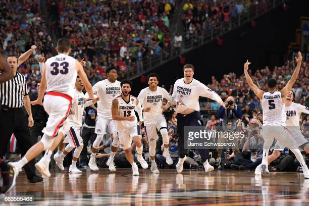 Nigel WilliamsGoss Josh Perkins and Gonzaga Bulldogs teammates react after winning during the 2017 NCAA Men's Final Four Semifinal against the South...