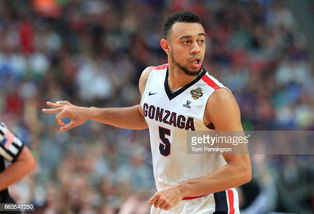 Nigel WilliamsGoss of the Gonzaga Bulldogs reacts after a play in the second half against the South Carolina Gamecocks during the 2017 NCAA Men's...