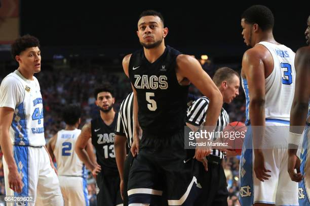 Nigel WilliamsGoss of the Gonzaga Bulldogs reacts on the court in the second half against the North Carolina Tar Heels during the 2017 NCAA Men's...