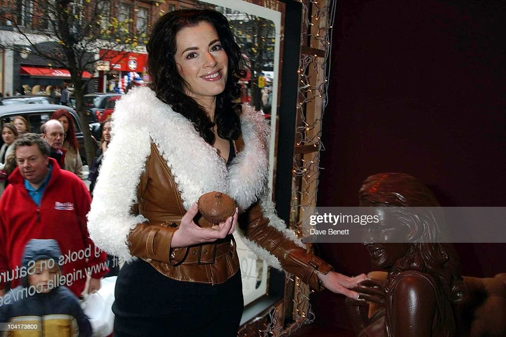 Nigella Lawson Choclate Double Unveiling For Auction In Aid Of Barnados Selfridges Window , London, Nigella Lawson