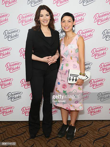 Nigella Lawson poses alongside Katherine Sabbath during a Business Chicks function at Westin Hotel on January 22 2016 in Sydney Australia
