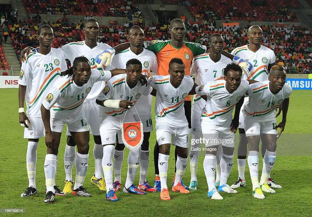 Niger players line up for a team photograph before the 2013 African Cup of Nations match between Mali and Niger at Nelson Mandela Bay Stadium on January 20, 2013 in Port Elizabeth, South Africa.