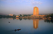 Niger River with BCEAO Bank tower behind.