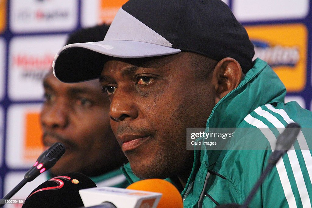 Nigeria coach, <a gi-track='captionPersonalityLinkClicked' href=/galleries/search?phrase=Stephen+Keshi&family=editorial&specificpeople=774165 ng-click='$event.stopPropagation()'>Stephen Keshi</a> during a Nigeria press conference at Moses Mabhida Stadium on Februay 05, 2013 in Durban, South Africa.