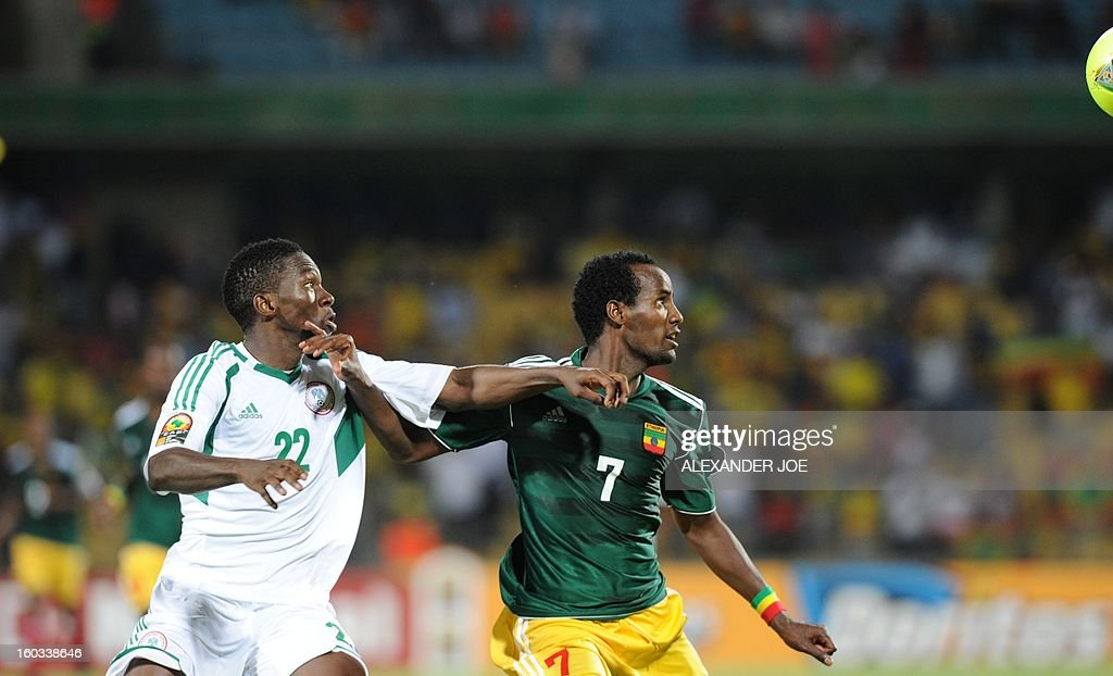Nigeria defender Kenneth Omeruo fights for the ball with Ethiopia forward Saladin Seid on January 29, 2013 during a 2013 African Cup of Nations Group C football match at the Royal Bafokeng stadium in Rustenburg.