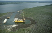Nigeria Industry Aerial view over oil rig in swamp near Bonny