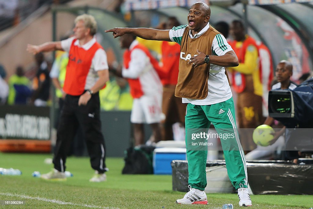 Nigeria Manager, Stephen Keshi looks screams at his players from the sidelines during the 2013 Africa Cup of Nations Final match between Nigeria and Burkina at FNB Stadium on February 10, 2013 in Johannesburg, South Africa.