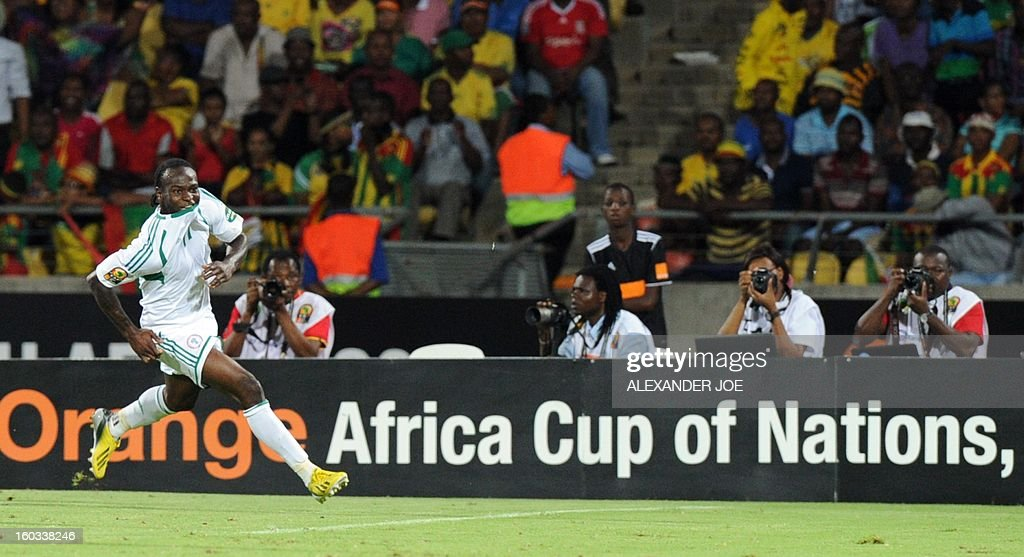 Nigeria midfielder Victor Moses celebrates after scoring against Ethiopia on January 29, 2013 during a 2013 African Cup of Nations Group C football match at the Royal Bafokeng stadium in Rustenburg. AFP PHOTO / ALEXANDER JOE