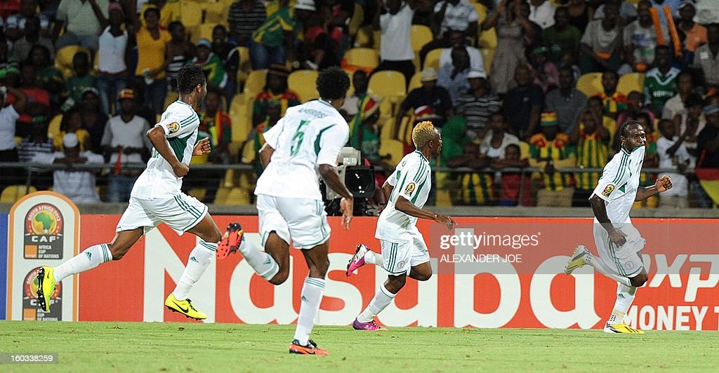 Nigeria midfielder Victor Moses (R) celebrates after scoring against Ethiopia on January 29, 2013 during a 2013 African Cup of Nations Group C football match at the Royal Bafokeng stadium in Rustenburg. AFP PHOTO / ALEXANDER JOE