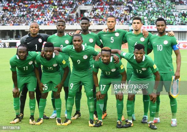 Nigeria national football team players pose prior to the 2018 FIFA World Cup qualifying football match between Nigeria and Cameroon at Godswill...