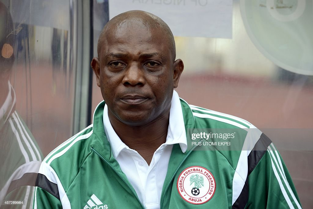 Nigeria Nigeria's coach <a gi-track='captionPersonalityLinkClicked' href=/galleries/search?phrase=Stephen+Keshi&family=editorial&specificpeople=774165 ng-click='$event.stopPropagation()'>Stephen Keshi</a> looks on during the 2015 Africa Cup of Nations qualifying football match between Nigeria and Sudan on October 15, 2014 in Abuja.