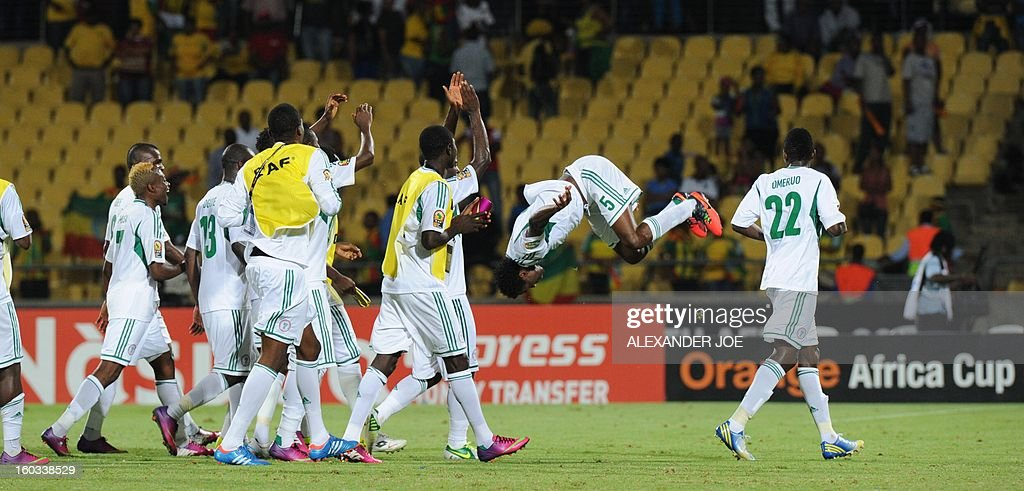 Nigeria players celebrate after defeating Ethiopia 2-0 on January 29, 2013 during a 2013 African Cup of Nations Group C football match at the Royal Bafokeng stadium in Rustenburg.