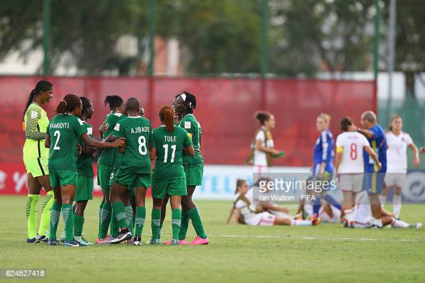 Nigeria players celebrates after winning the FIFA U20 Women's World Cup Group B match between Nigeria and Spain at PNG Football Stadium on November...