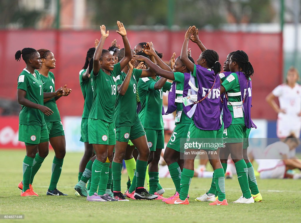 Nigeria players celebrates after winning the FIFA U-20 Women's World Cup, Group B match between Nigeria and Spain at PNG Football Stadium on November 20, 2016 in Port Moresby, Papua New Guinea.