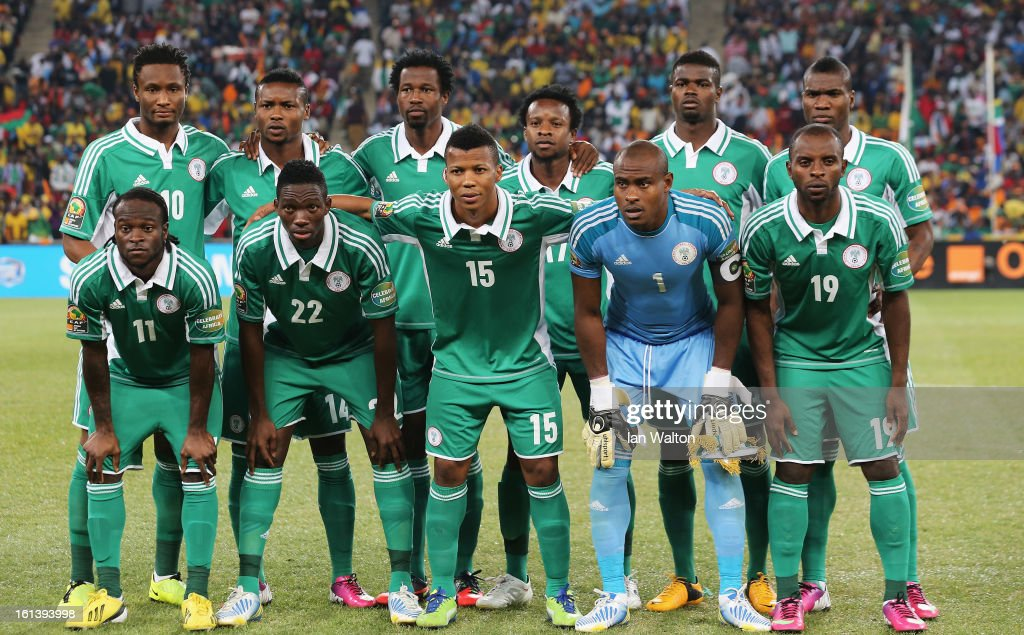 Nigeria team line up during the 2013 Africa Cup of Nations Final match between Nigeria and Burkina at FNB Stadium on February 10, 2013 in Johannesburg, South Africa.