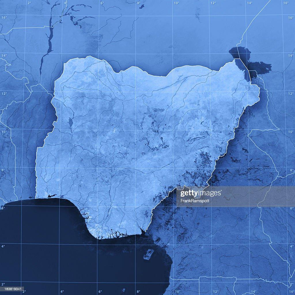 Nigeria Topographic Map : Stock Photo
