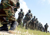 Nigerian amphibious army advance towards the enemy during a joint military exercise between Nigerian armed forces United States Britain Netherlands...