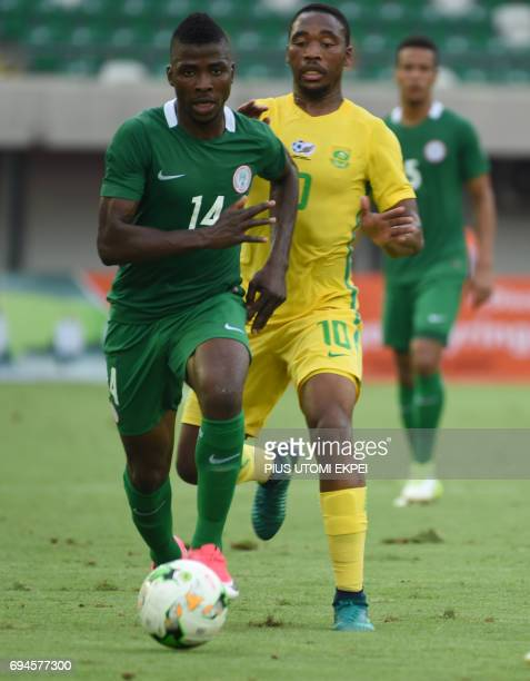 Nigerian attacker Kelechi Iheanacho controls the ball during the 2019 African Cup of Nations qualifyer football match between South Africa and...
