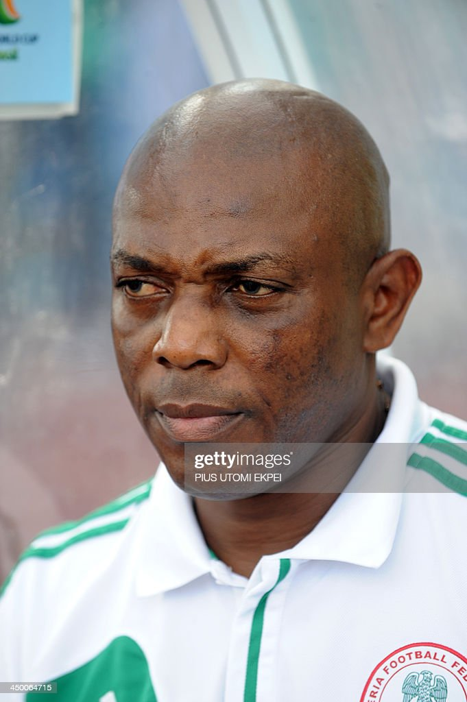 Nigerian Coach Keshi attends the FIFA World Cup qualifier in Calabar in November 16, 2013. Nigeria defeated Ethiopia 2 - 0 in the second leg to qualify for FIFA 2014 World Cup in Brazil. AFP PHOTO/PIUS UTOMI EKPEI