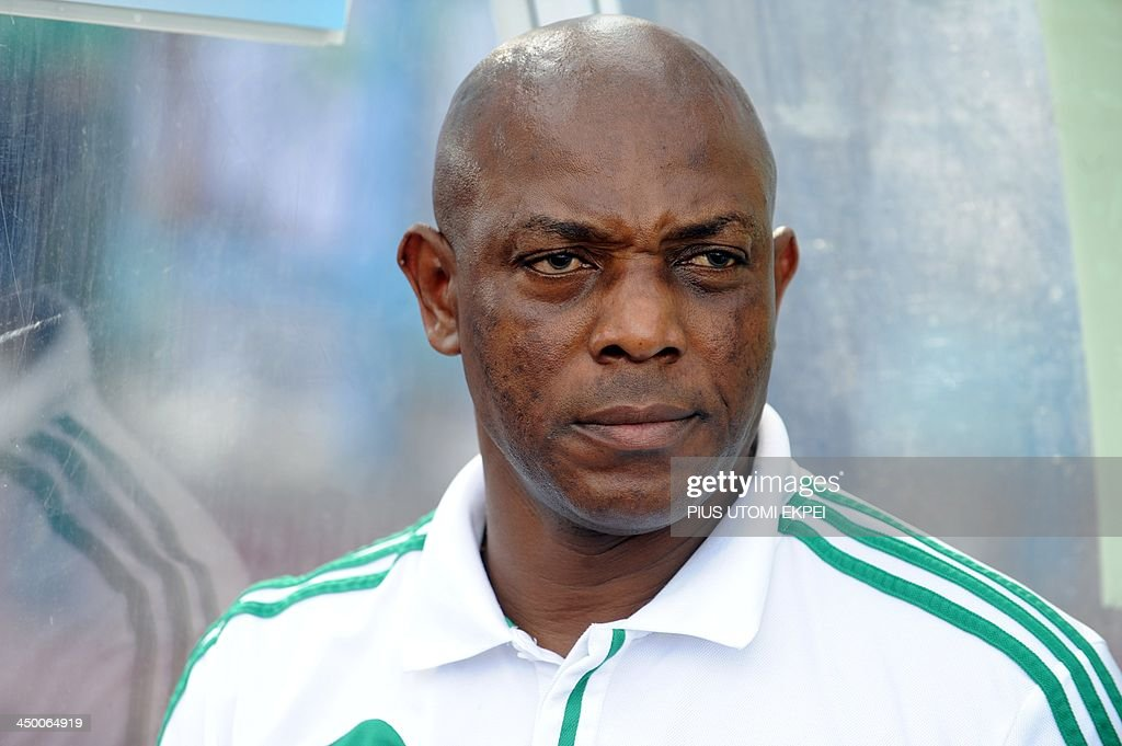 Nigerian Coach <a gi-track='captionPersonalityLinkClicked' href=/galleries/search?phrase=Stephen+Keshi&family=editorial&specificpeople=774165 ng-click='$event.stopPropagation()'>Stephen Keshi</a> attends the FIFA World Cup qualifier in Calabar in November 16, 2013. Nigeria defeated Ethiopia 2 - 0 in the second leg to qualify for FIFA 2014 World Cup in Brazil.