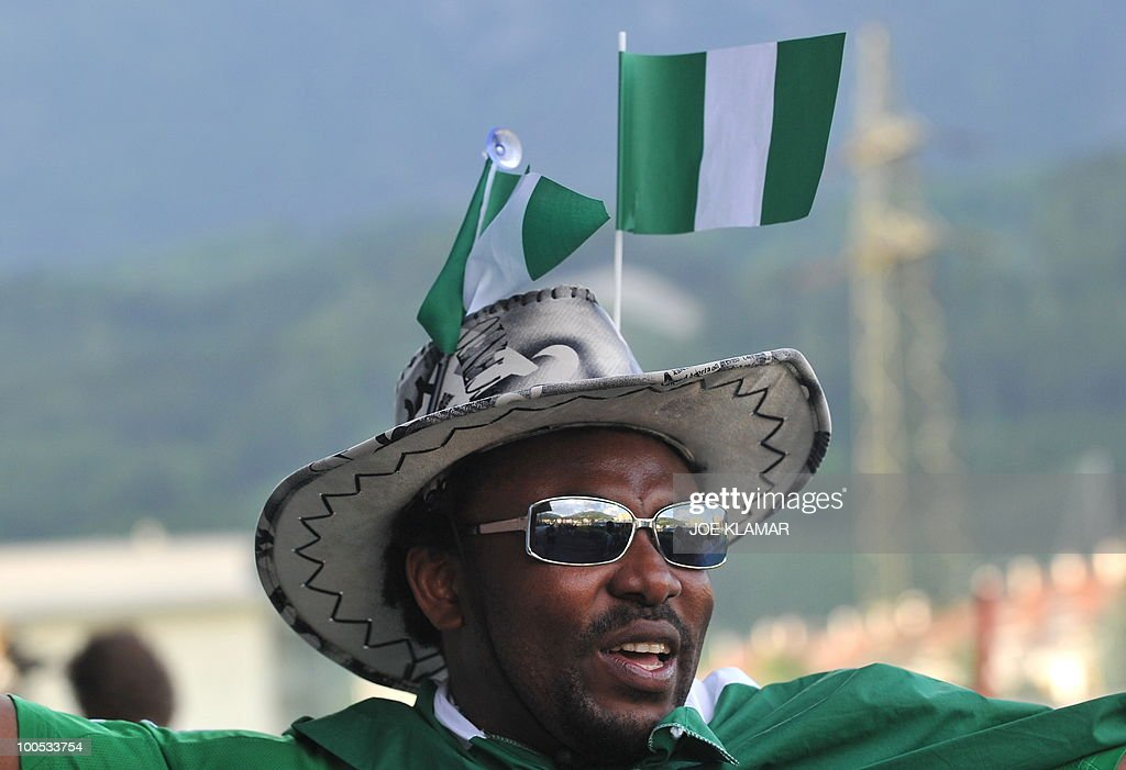A Nigerian fan attends their friendly match between Saudi Arabia and Nigeria in Alpen stadium in Tyrolian Wattens on May 25, 2010 prior to the FIFA World Cup 2010 hosted by South Africa.