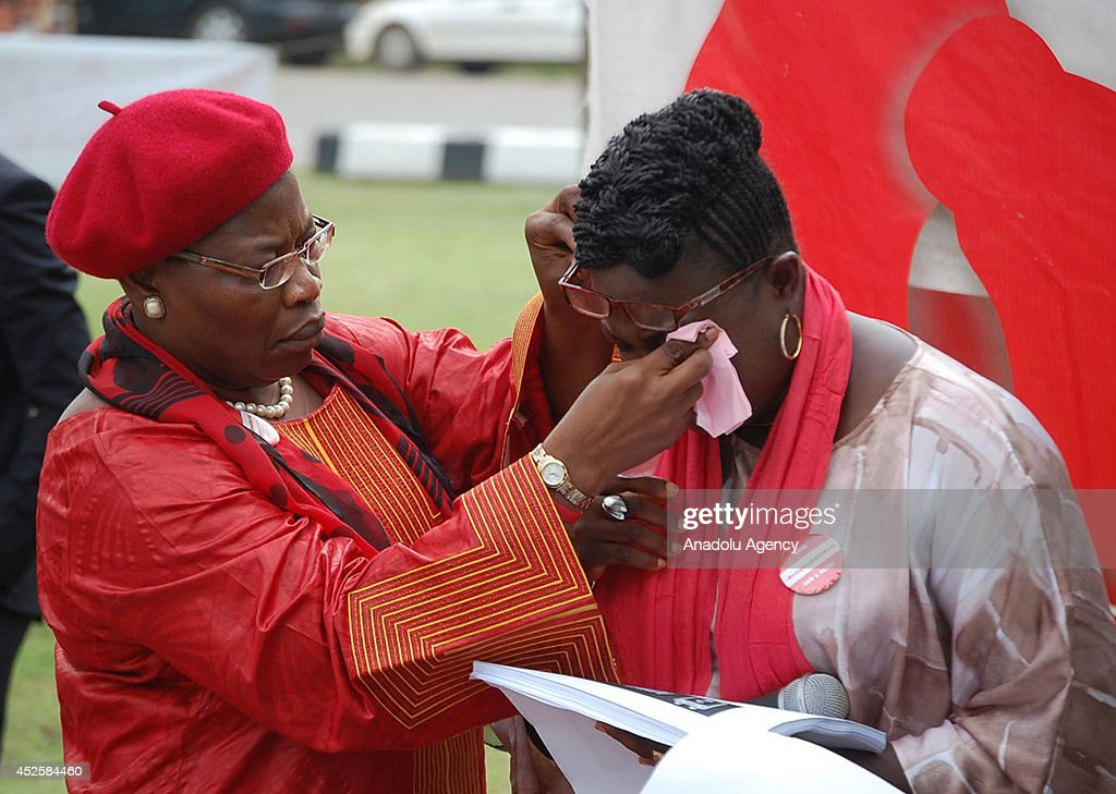 Nigerian Federal Minister of Education Obiageli Ezekwesili (L) attends the demonstration in Nigerian capital Abuja on July 23, 2014, for the rescue of schoolgirls that abducted in April by Boko Haram militants.