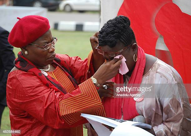 Nigerian Federal Minister of Education Obiageli Ezekwesili attends the demonstration in Nigerian capital Abuja on July 23 for the rescue of...