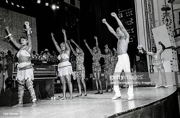Nigerian musician and composer Fela Kuti and his band perform at the Apollo Theater in Harlem New York New York July 28 1989