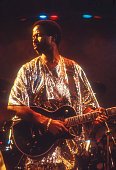 Nigerian musician King Sunny Ade performs Yoruban Juju music onstage at Central Park SummerStage at SOB's nightclub New York New York October 31 1989