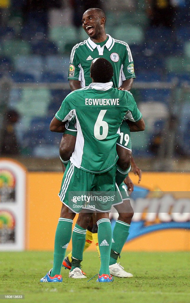 Nigerian players celebrate the win after the 2013 African Cup of Nations Semi-Final match between Mali and Nigeria at Moses Mahbida Stadium on February 06, 2013 in Durban, South Africa.